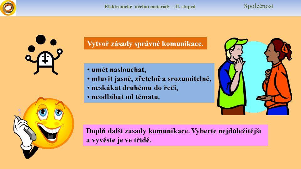 Elektronické učební materiály - II. stupeň Společnost Vytvoř zásady správné komunikace.