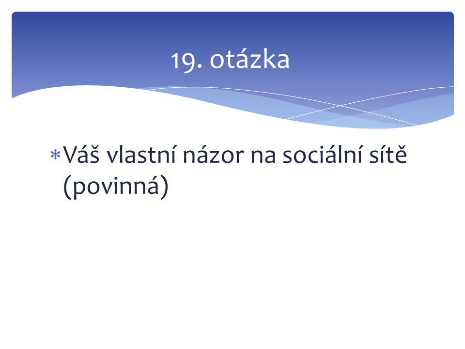  Váš vlastní názor na sociální sítě (povinná) 19. otázka