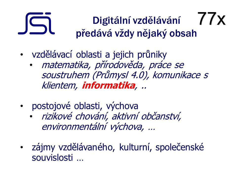 Digitální vzdělávání předává vždy nějaký obsah vzdělávací oblasti a jejich průniky matematika, přírodověda, práce se soustruhem (Průmysl 4.0), komunikace s klientem, informatika,..