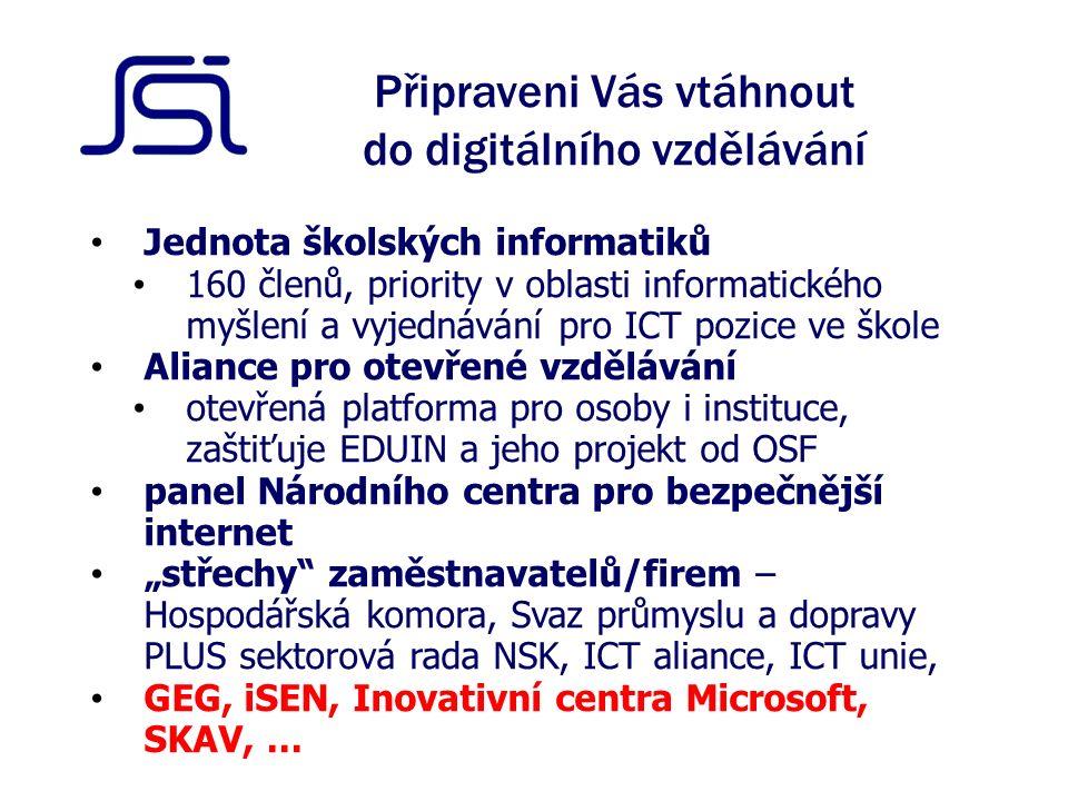 """Připraveni Vás vtáhnout do digitálního vzdělávání Jednota školských informatiků 160 členů, priority v oblasti informatického myšlení a vyjednávání pro ICT pozice ve škole Aliance pro otevřené vzdělávání otevřená platforma pro osoby i instituce, zaštiťuje EDUIN a jeho projekt od OSF panel Národního centra pro bezpečnější internet """"střechy zaměstnavatelů/firem – Hospodářská komora, Svaz průmyslu a dopravy PLUS sektorová rada NSK, ICT aliance, ICT unie, GEG, iSEN, Inovativní centra Microsoft, SKAV, …"""