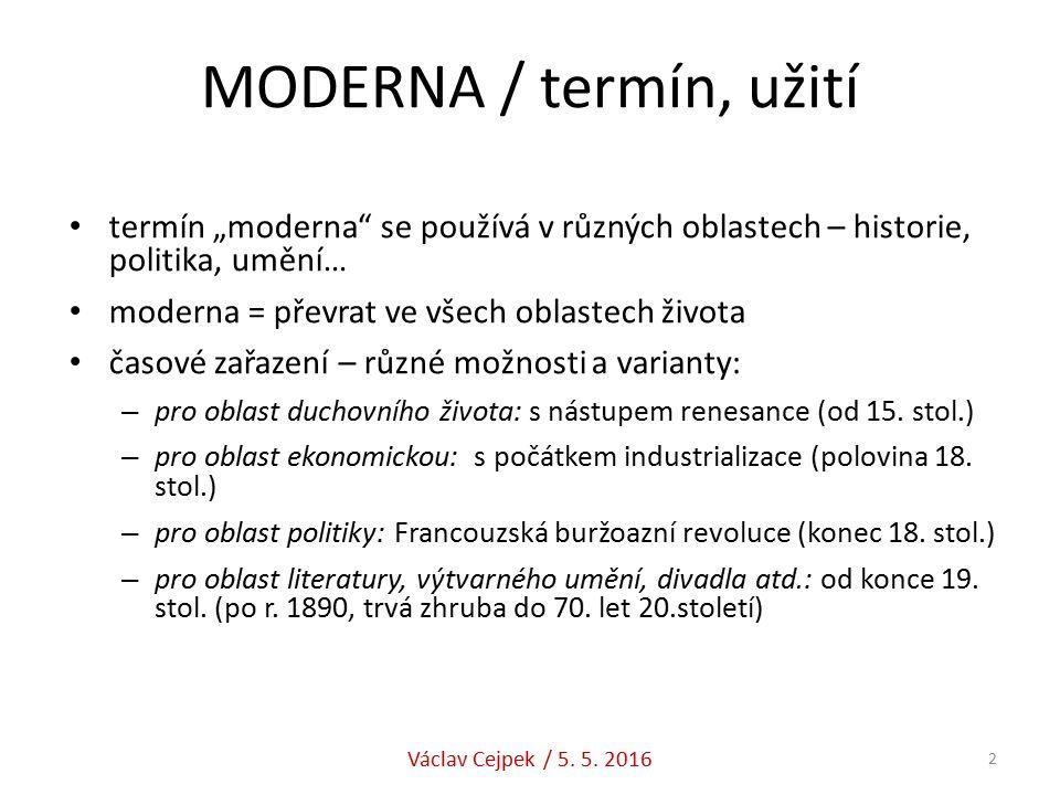 """MODERNA / termín, užití termín """"moderna se používá v různých oblastech – historie, politika, umění… moderna = převrat ve všech oblastech života časové zařazení – různé možnosti a varianty: – pro oblast duchovního života: s nástupem renesance (od 15."""