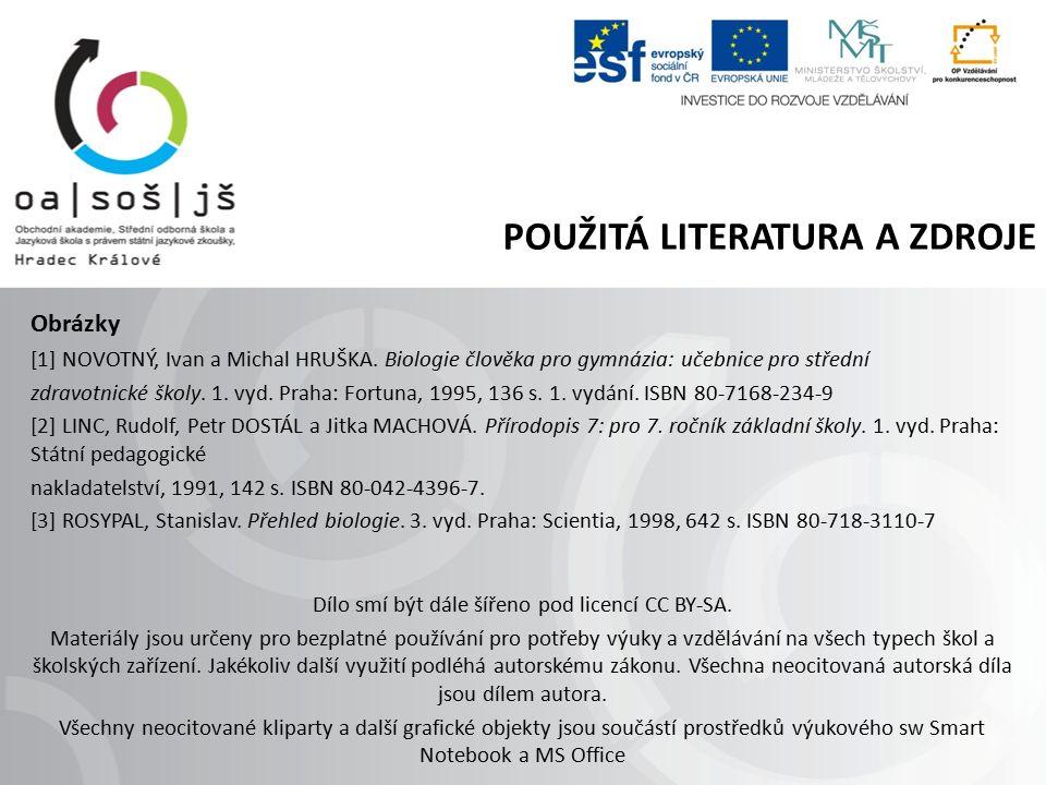 POUŽITÁ LITERATURA A ZDROJE Obrázky [1] NOVOTNÝ, Ivan a Michal HRUŠKA.