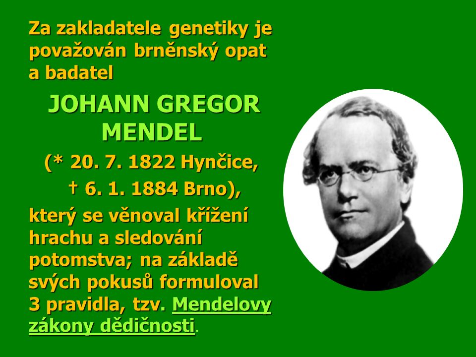 Za zakladatele genetiky je považován brněnský opat a badatel JOHANN GREGOR MENDEL JOHANN GREGOR MENDEL (* 20.