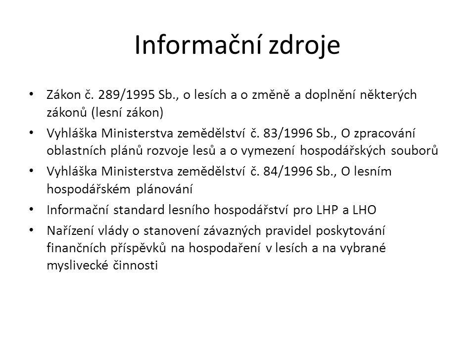 Informační zdroje Zákon č. 289/1995 Sb., o lesích a o změně a doplnění některých zákonů (lesní zákon) Vyhláška Ministerstva zemědělství č. 83/1996 Sb.