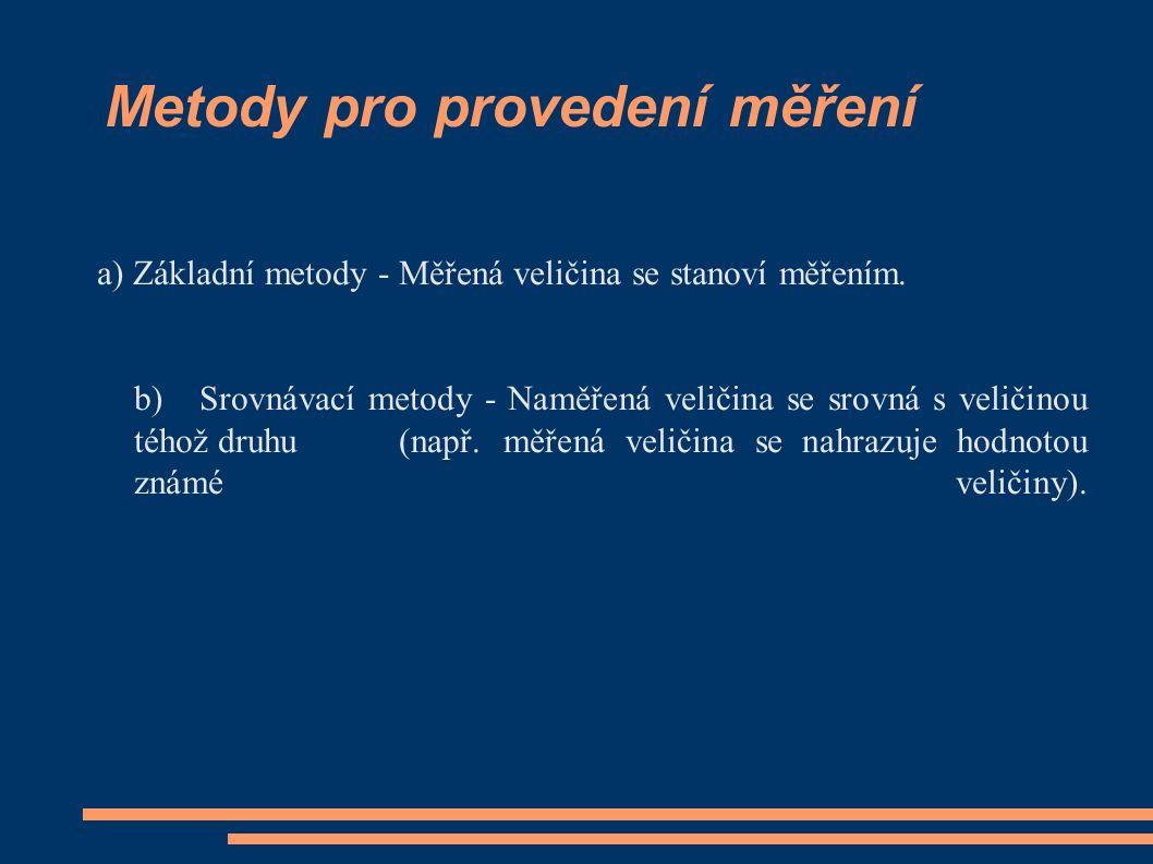 Metody pro provedení měření a) Základní metody - Měřená veličina se stanoví měřením.