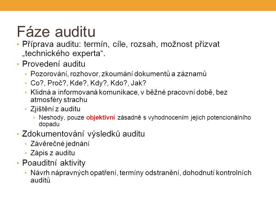 """Fáze auditu Příprava auditu: termín, cíle, rozsah, možnost přizvat """"technického experta ."""