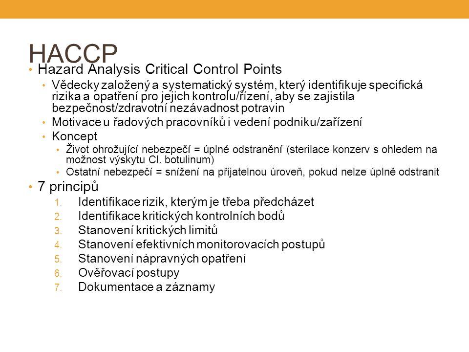 HACCP Hazard Analysis Critical Control Points Vědecky založený a systematický systém, který identifikuje specifická rizika a opatření pro jejich kontrolu/řízení, aby se zajistila bezpečnost/zdravotní nezávadnost potravin Motivace u řadových pracovníků i vedení podniku/zařízení Koncept Život ohrožující nebezpečí = úplné odstranění (sterilace konzerv s ohledem na možnost výskytu Cl.