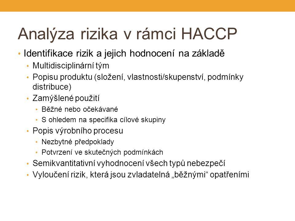 """Analýza rizika v rámci HACCP Identifikace rizik a jejich hodnocení na základě Multidisciplinární tým Popisu produktu (složení, vlastnosti/skupenství, podmínky distribuce) Zamýšlené použití Běžné nebo očekávané S ohledem na specifika cílové skupiny Popis výrobního procesu Nezbytné předpoklady Potvrzení ve skutečných podmínkách Semikvantitativní vyhodnocení všech typů nebezpečí Vyloučení rizik, která jsou zvladatelná """"běžnými opatřeními"""