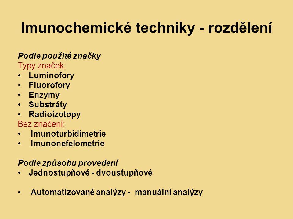 Imunochemické techniky - rozdělení Podle použité značky Typy značek: Luminofory Fluorofory Enzymy Substráty Radioizotopy Bez značení: Imunoturbidimetrie Imunonefelometrie Podle způsobu provedení Jednostupňové - dvoustupňové Automatizované analýzy - manuální analýzy
