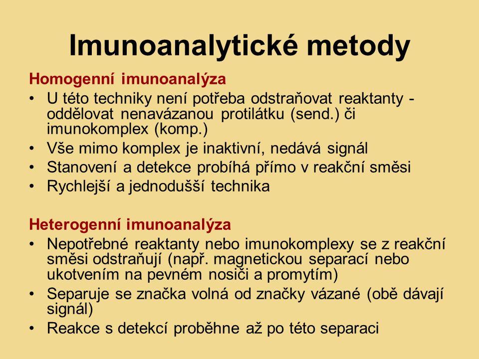 Imunoanalytické metody Homogenní imunoanalýza U této techniky není potřeba odstraňovat reaktanty - oddělovat nenavázanou protilátku (send.) či imunokomplex (komp.) Vše mimo komplex je inaktivní, nedává signál Stanovení a detekce probíhá přímo v reakční směsi Rychlejší a jednodušší technika Heterogenní imunoanalýza Nepotřebné reaktanty nebo imunokomplexy se z reakční směsi odstraňují (např.
