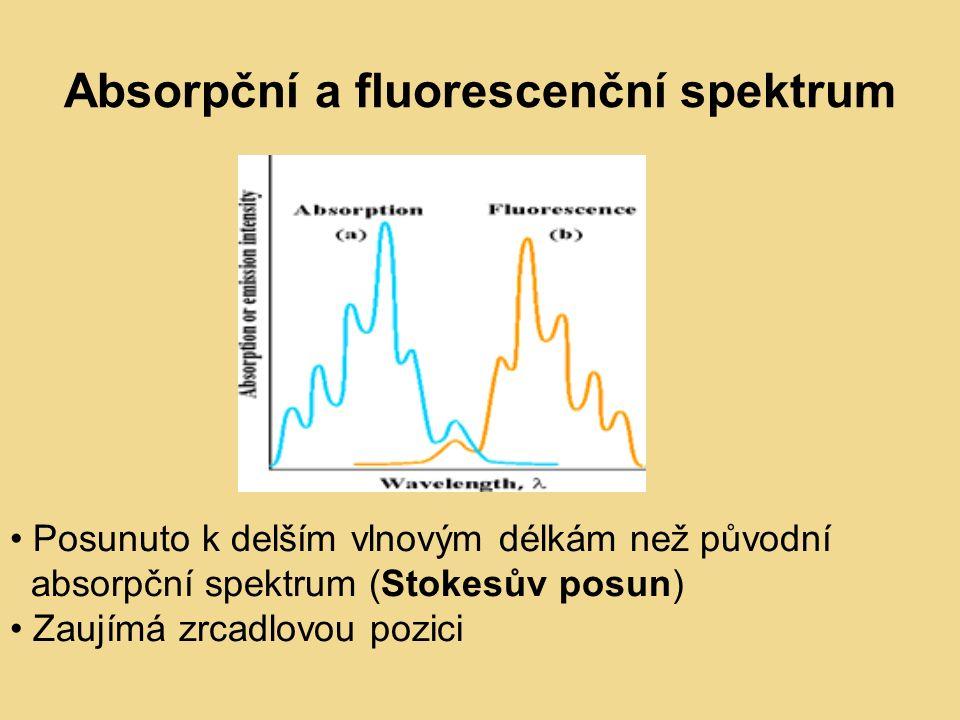 Absorpční a fluorescenční spektrum Posunuto k delším vlnovým délkám než původní absorpční spektrum (Stokesův posun) Zaujímá zrcadlovou pozici