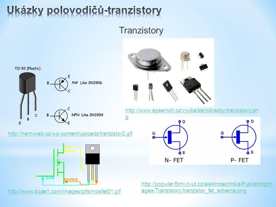 Tranzistory http://www.spsemoh.cz/vyuka/zel/obrazky/tranzistory.pn g http://herniweb.cz/wp-content/uploads/tranzistor2.gif http://popular.fbmi.cvut.cz/elektrotechnika/PublishingIm ages/Tranzistory/tranzistor_fet_schema.png http://www.bcae1.com/images/gifs/mosfet01.gif