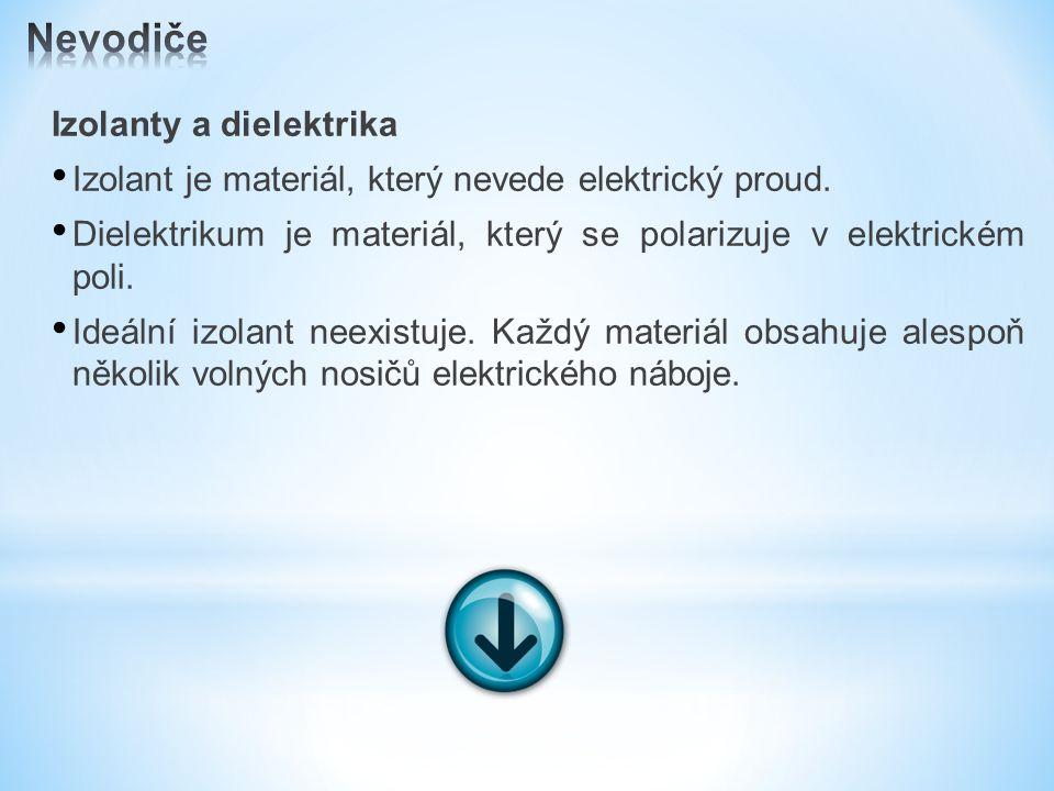 Izolanty a dielektrika Izolant je materiál, který nevede elektrický proud.