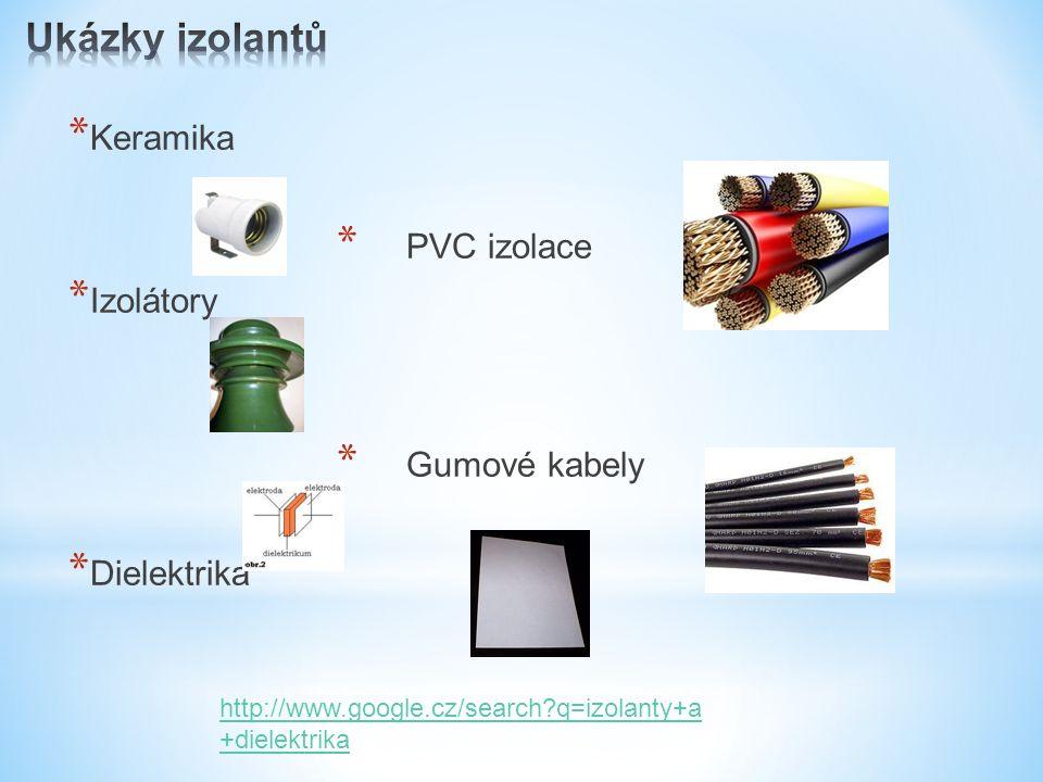 * Keramika * PVC izolace * Izolátory * Gumové kabely * Dielektrika http://www.google.cz/search q=izolanty+a +dielektrika
