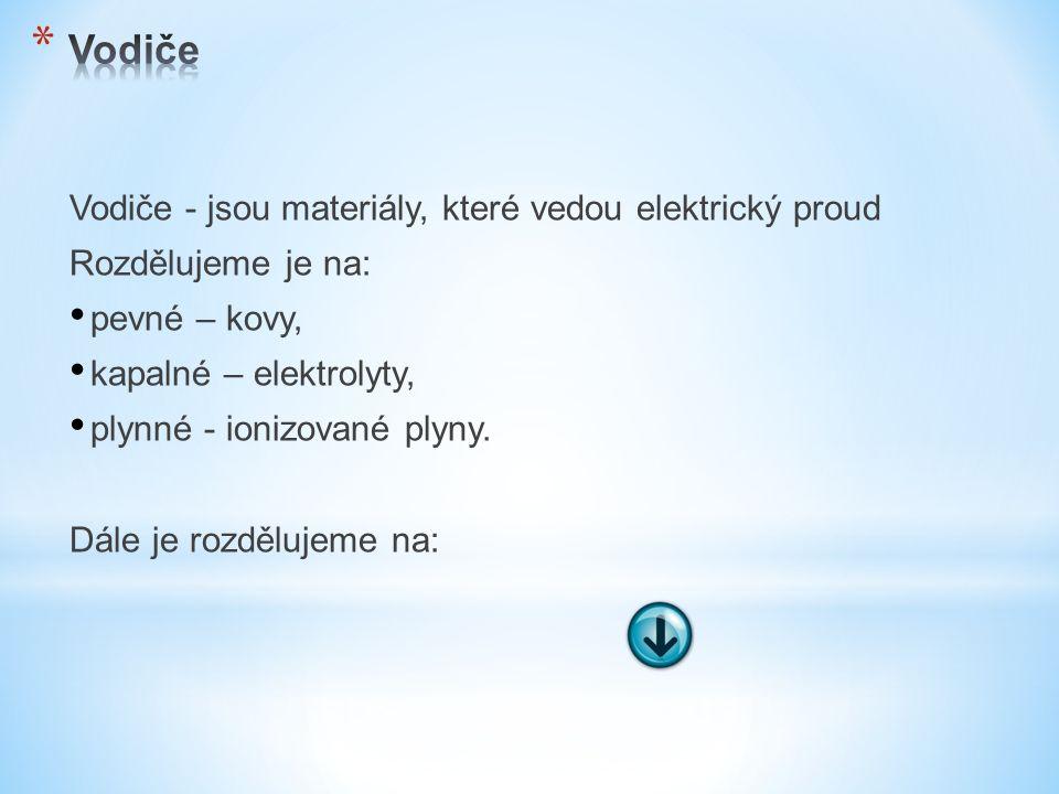 Vodiče - jsou materiály, které vedou elektrický proud Rozdělujeme je na: pevné – kovy, kapalné – elektrolyty, plynné - ionizované plyny.