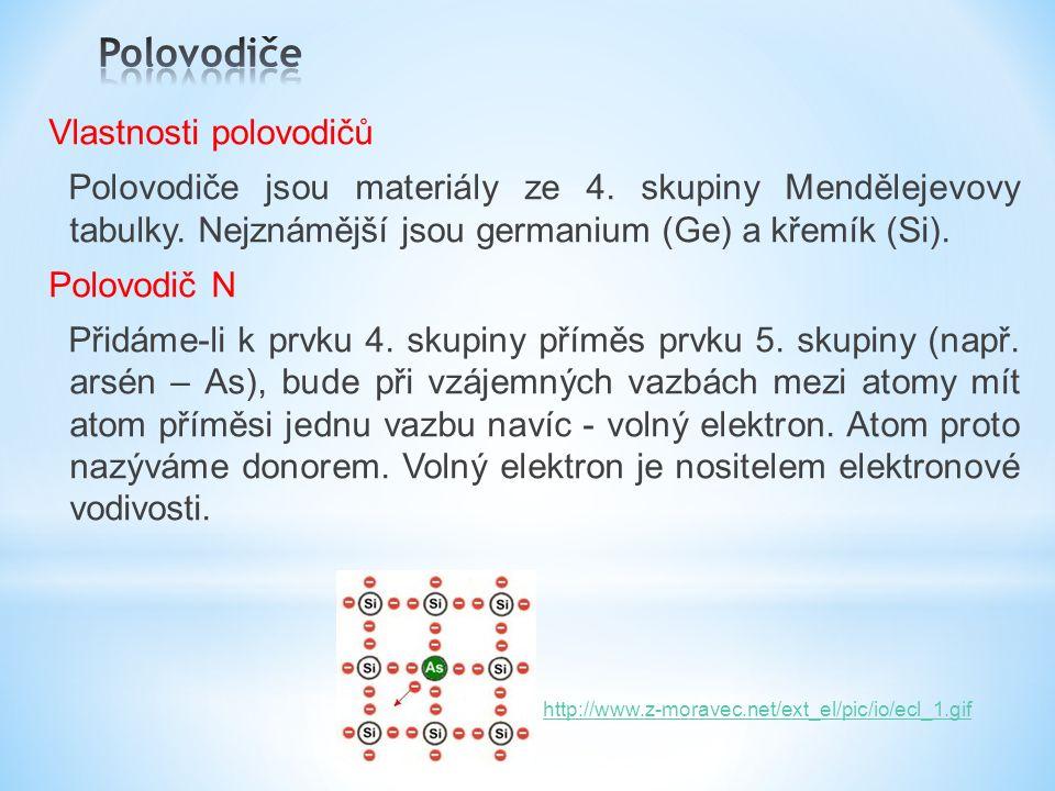 Vlastnosti polovodičů Polovodiče jsou materiály ze 4.