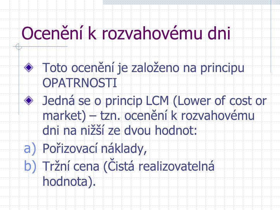 Ocenění k rozvahovému dni Toto ocenění je založeno na principu OPATRNOSTI Jedná se o princip LCM (Lower of cost or market) – tzn.