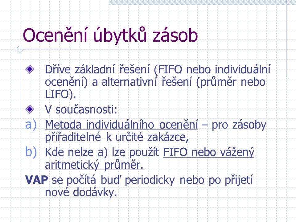 Ocenění úbytků zásob Dříve základní řešení (FIFO nebo individuální ocenění) a alternativní řešení (průměr nebo LIFO).