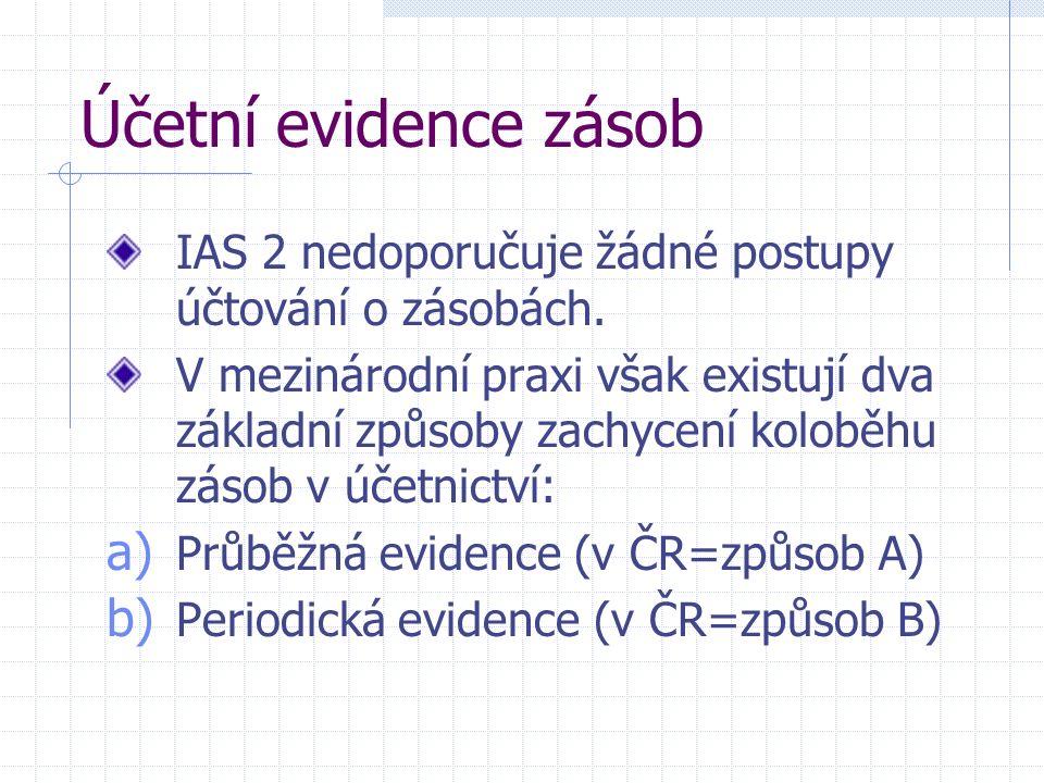 Účetní evidence zásob IAS 2 nedoporučuje žádné postupy účtování o zásobách.