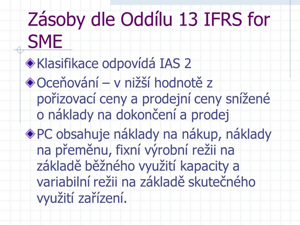 Zásoby dle Oddílu 13 IFRS for SME Klasifikace odpovídá IAS 2 Oceňování – v nižší hodnotě z pořizovací ceny a prodejní ceny snížené o náklady na dokončení a prodej PC obsahuje náklady na nákup, náklady na přeměnu, fixní výrobní režii na základě běžného využití kapacity a variabilní režii na základě skutečného využití zařízení.