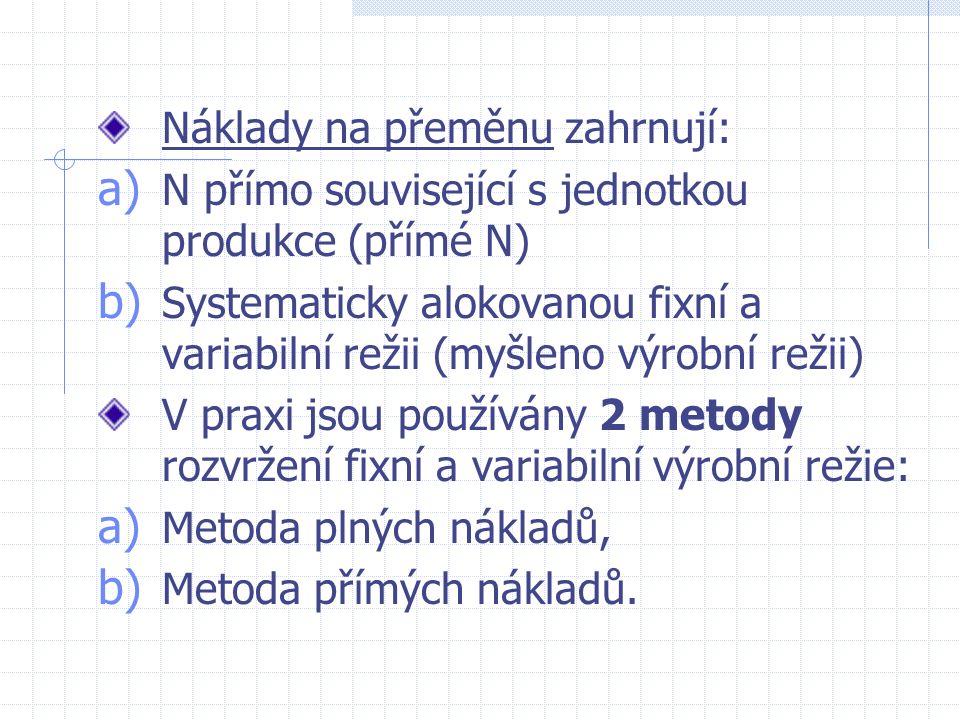Náklady na přeměnu zahrnují: a) N přímo související s jednotkou produkce (přímé N) b) Systematicky alokovanou fixní a variabilní režii (myšleno výrobní režii) V praxi jsou používány 2 metody rozvržení fixní a variabilní výrobní režie: a) Metoda plných nákladů, b) Metoda přímých nákladů.