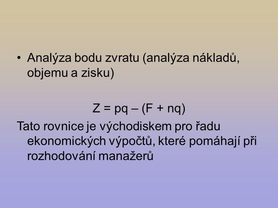 Analýza bodu zvratu (analýza nákladů, objemu a zisku) Z = pq – (F + nq) Tato rovnice je východiskem pro řadu ekonomických výpočtů, které pomáhají při rozhodování manažerů