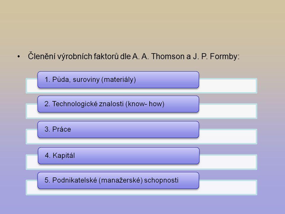 Členění výrobních faktorů dle A. A. Thomson a J. P. Formby: