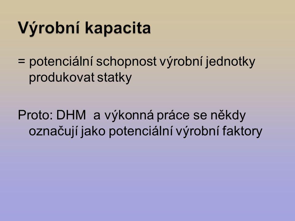 = potenciální schopnost výrobní jednotky produkovat statky Proto: DHM a výkonná práce se někdy označují jako potenciální výrobní faktory