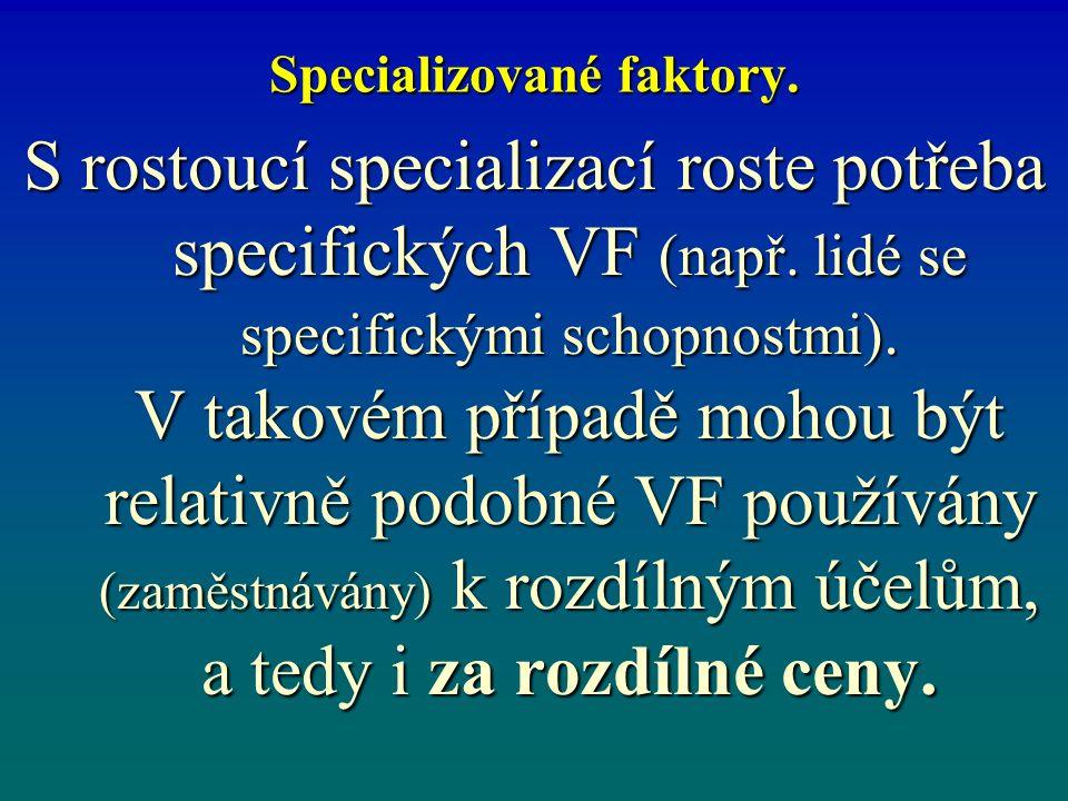 Specializované faktory. S rostoucí specializací roste potřeba specifických VF (např.