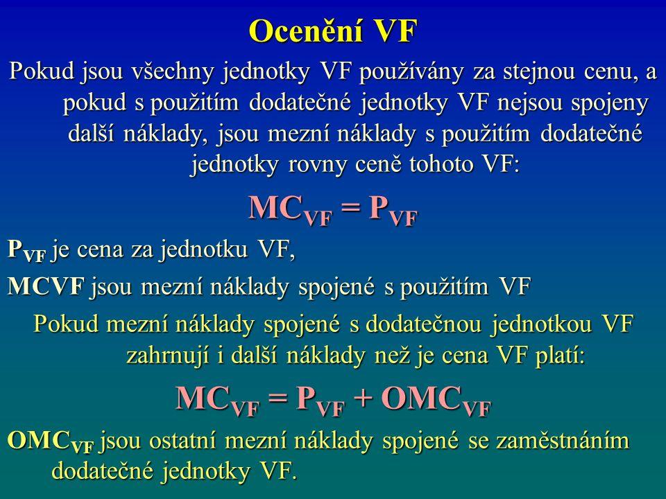 Ocenění VF Pokud jsou všechny jednotky VF používány za stejnou cenu, a pokud s použitím dodatečné jednotky VF nejsou spojeny další náklady, jsou mezní náklady s použitím dodatečné jednotky rovny ceně tohoto VF: MC VF = P VF P VF je cena za jednotku VF, MCVF jsou mezní náklady spojené s použitím VF Pokud mezní náklady spojené s dodatečnou jednotkou VF zahrnují i další náklady než je cena VF platí: MC VF = P VF + OMC VF OMC VF jsou ostatní mezní náklady spojené se zaměstnáním dodatečné jednotky VF.