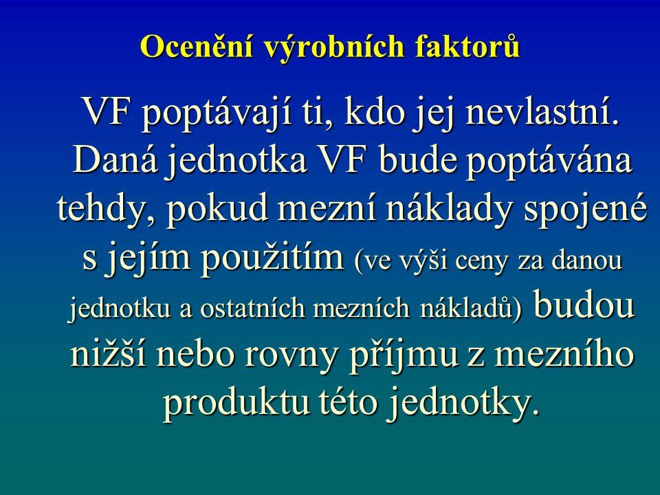 Ocenění výrobních faktorů VF poptávají ti, kdo jej nevlastní. Daná jednotka VF bude poptávána tehdy, pokud mezní náklady spojené s jejím použitím (ve
