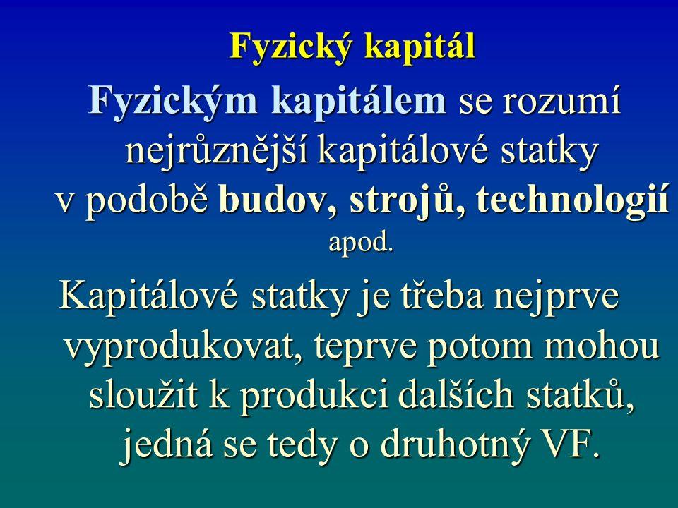 Fyzický kapitál Fyzickým kapitálem se rozumí nejrůznější kapitálové statky v podobě budov, strojů, technologií apod.