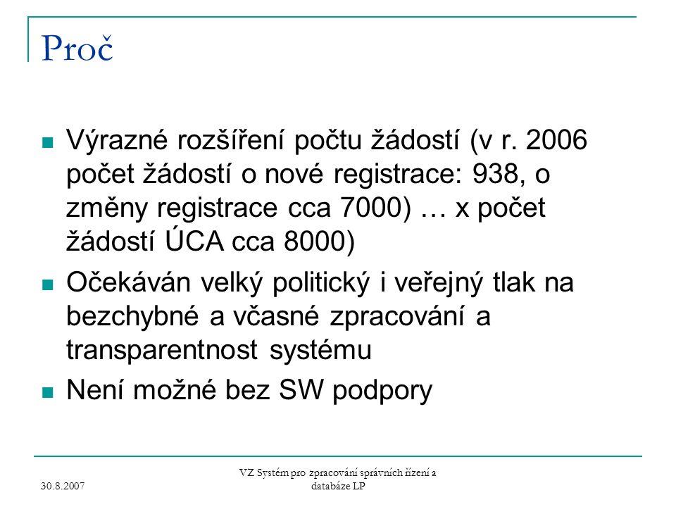 30.8.2007 VZ Systém pro zpracování správních řízení a databáze LP Proč Výrazné rozšíření počtu žádostí (v r.