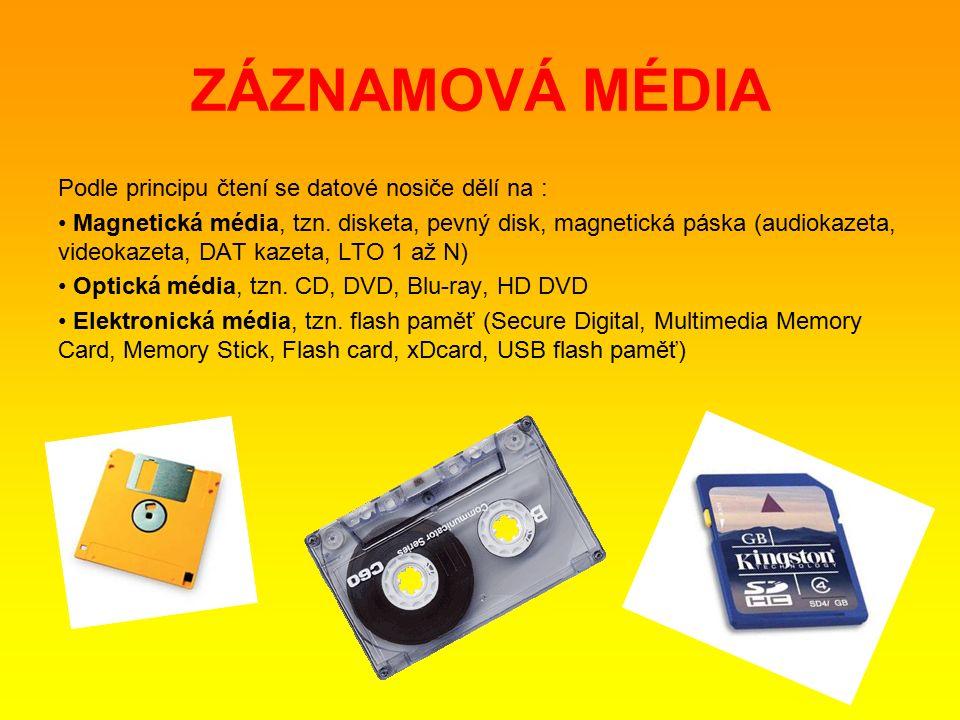 Podle principu čtení se datové nosiče dělí na : Magnetická média, tzn.
