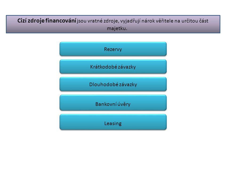 Rezervy Cizí zdroje financování jsou vratné zdroje, vyjadřují nárok věřitele na určitou část majetku. Krátkodobé závazky Dlouhodobé závazky Bankovní ú