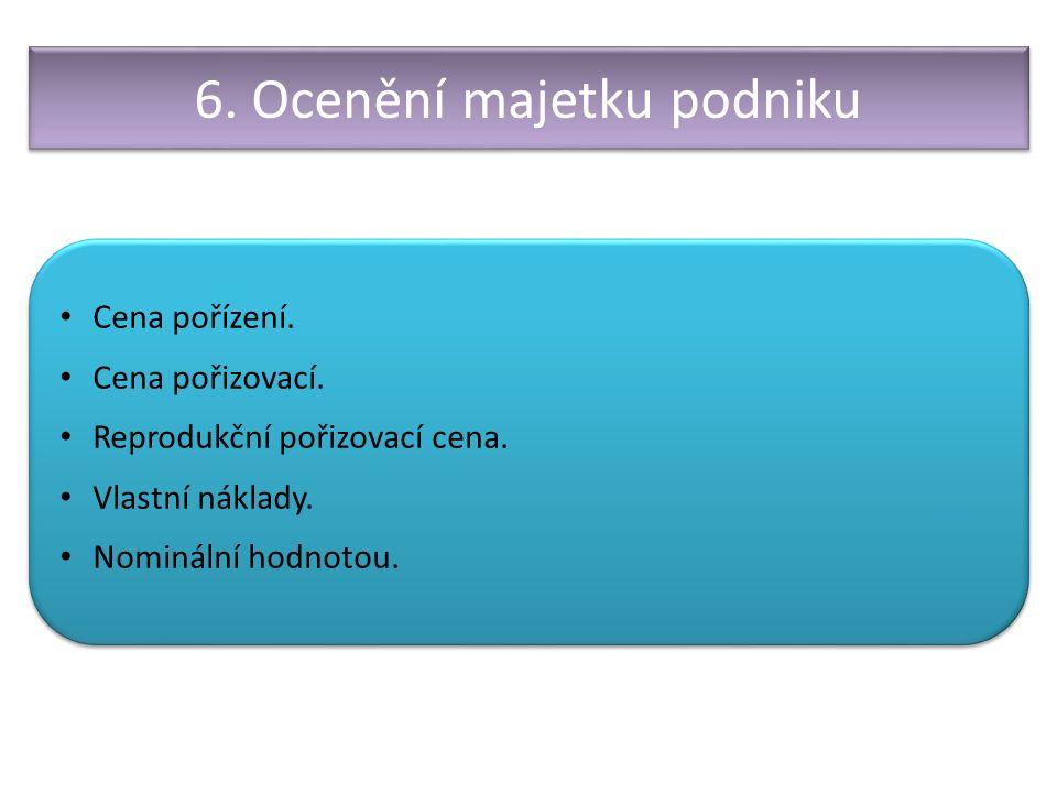 6. Ocenění majetku podniku Cena pořízení. Cena pořizovací.