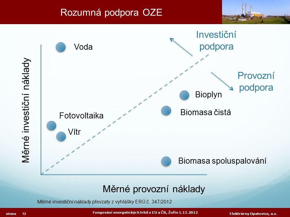 Rozumná podpora OZE Fungování energetických trhů v EU a ČR, Žofín 1.11.2012 strana 12 Elektrárny Opatovice, a.s.