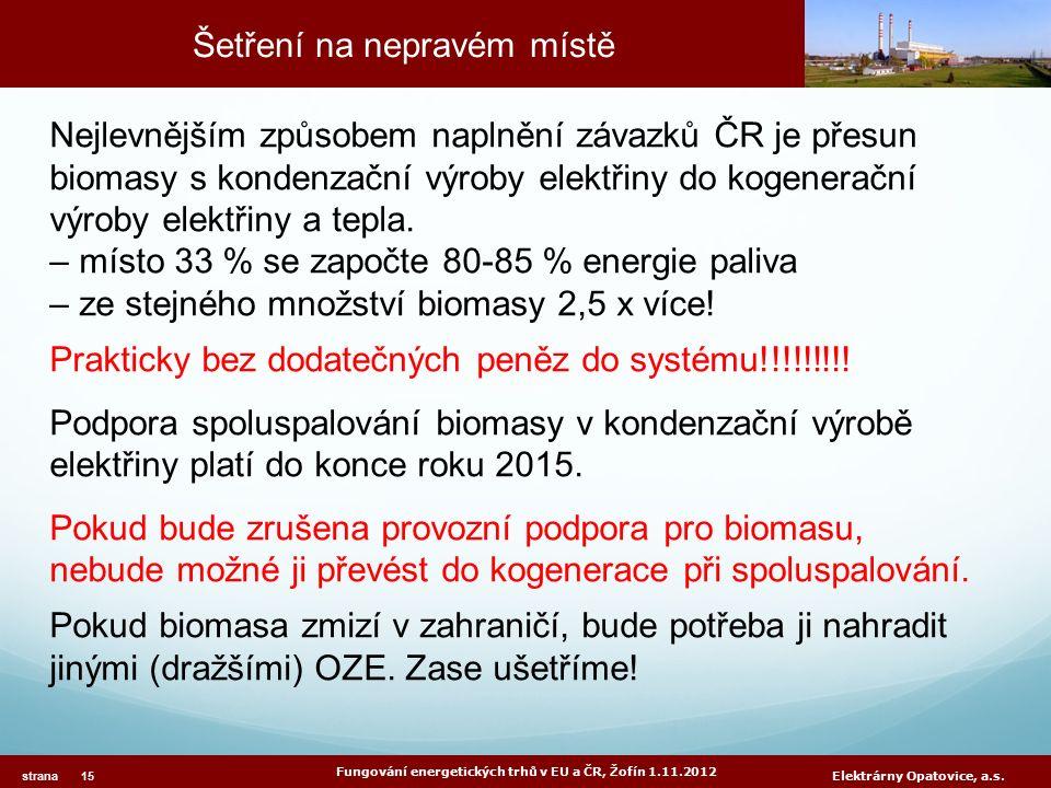 Šetření na nepravém místě Fungování energetických trhů v EU a ČR, Žofín 1.11.2012 strana 15 Elektrárny Opatovice, a.s. Nejlevnějším způsobem naplnění