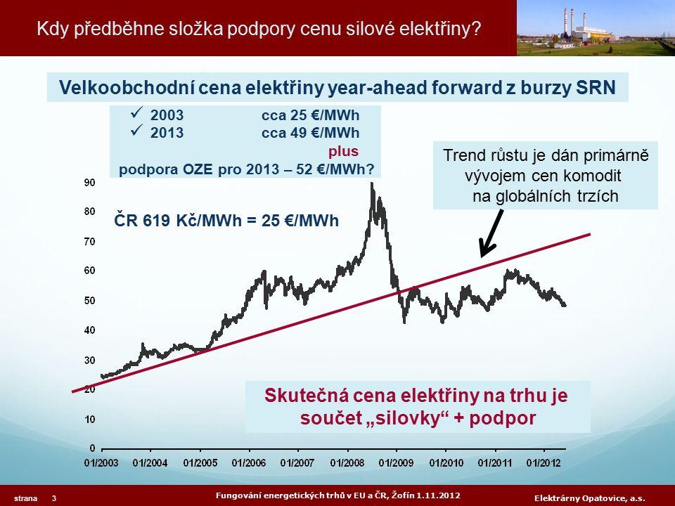 Kdy předběhne složka podpory cenu silové elektřiny? Fungování energetických trhů v EU a ČR, Žofín 1.11.2012 strana 3 Elektrárny Opatovice, a.s. 2003cc