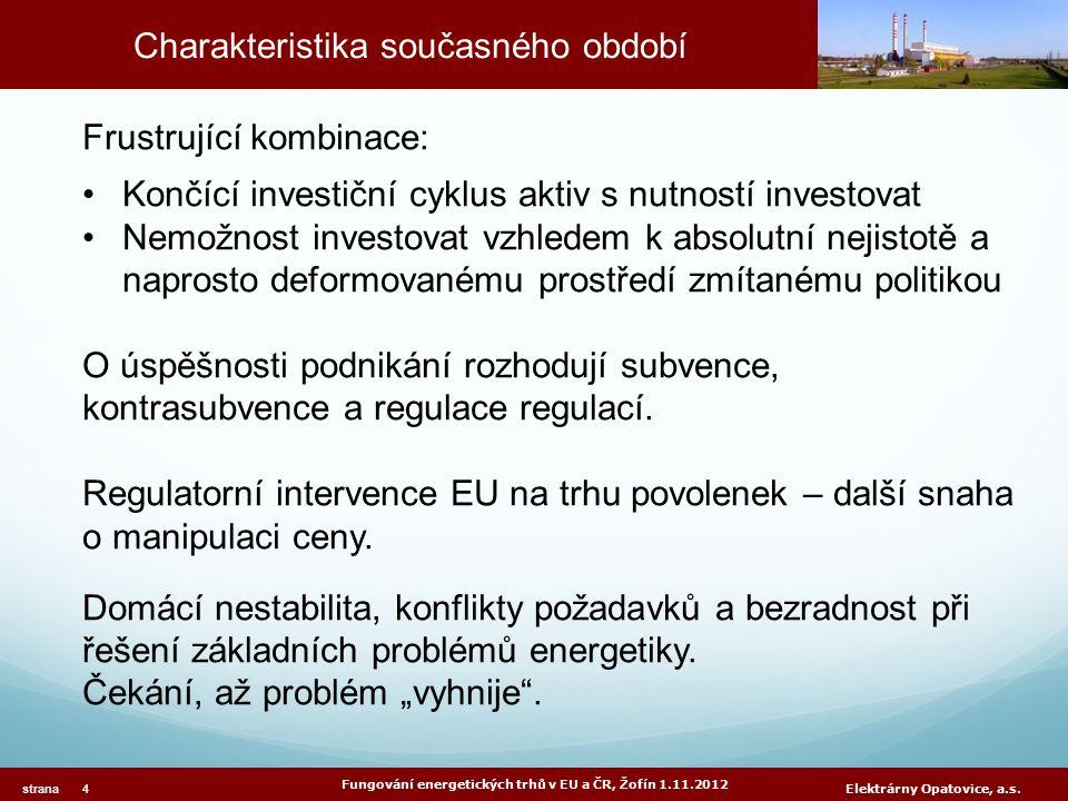 Charakteristika současného období Fungování energetických trhů v EU a ČR, Žofín 1.11.2012 strana 4 Elektrárny Opatovice, a.s. Frustrující kombinace: K