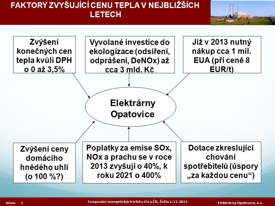 FAKTORY ZVYŠUJÍCÍ CENU TEPLA V NEJBLIŽŠÍCH LETECH Fungování energetických trhů v EU a ČR, Žofín 1.11.2012 strana 6 Elektrárny Opatovice, a.s.