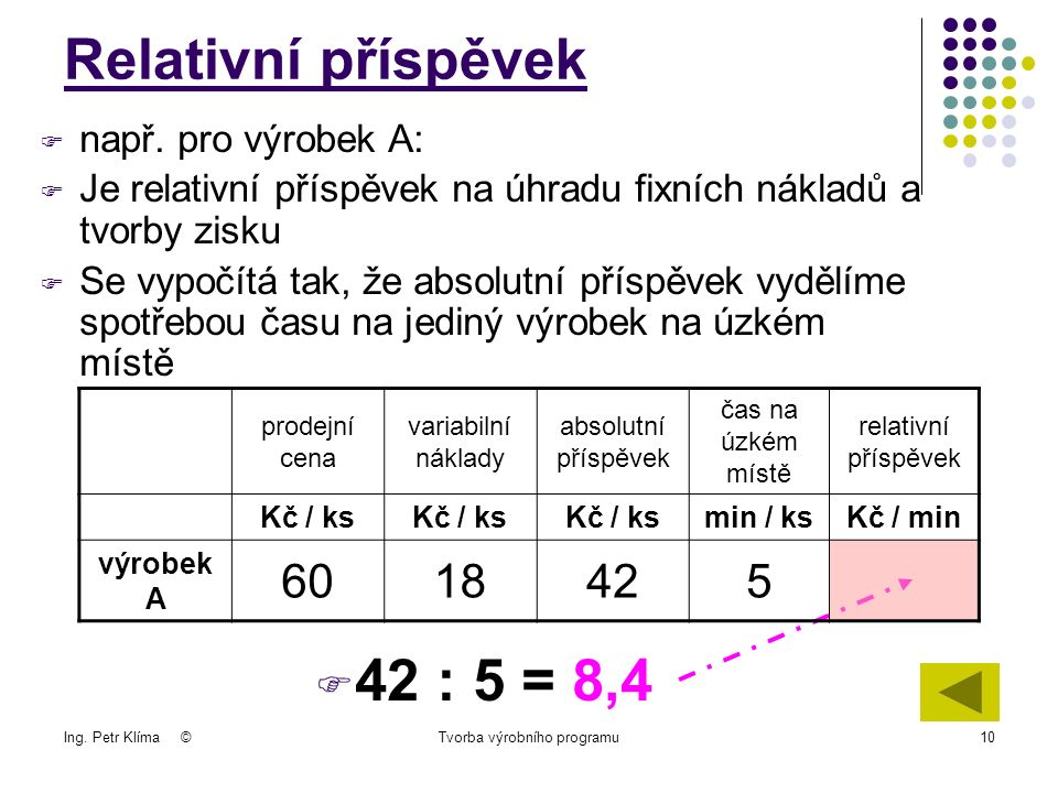 Ing. Petr Klíma ©Tvorba výrobního programu10  např.