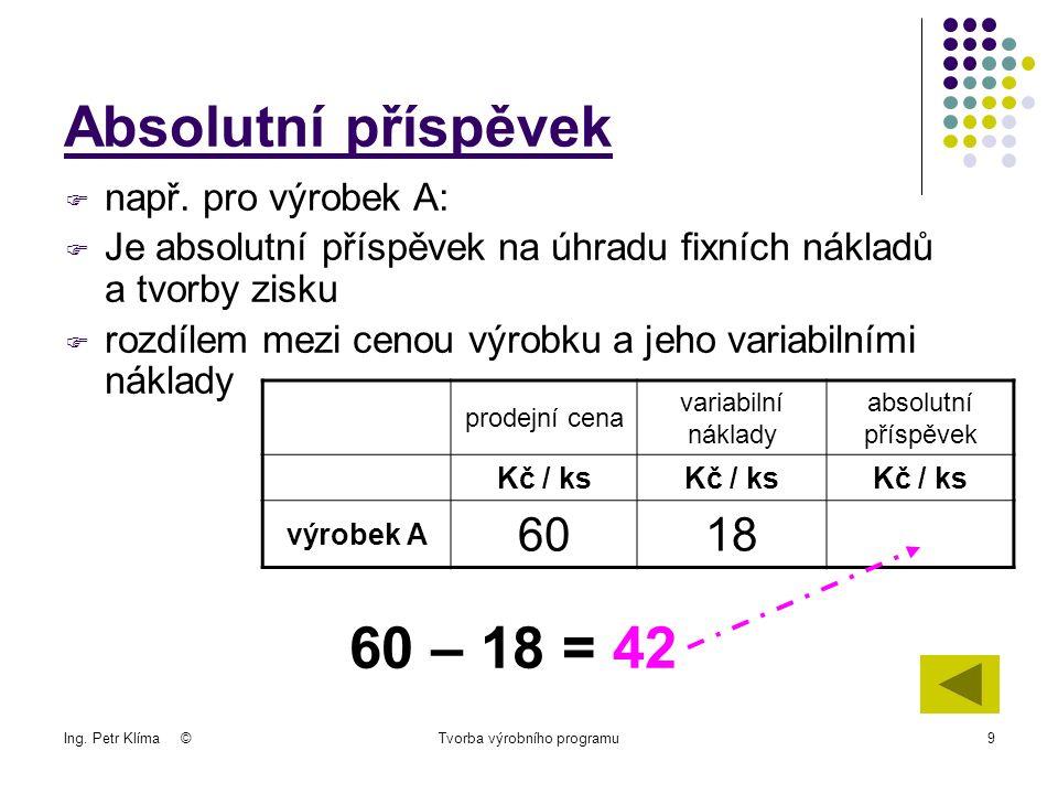 Ing. Petr Klíma ©Tvorba výrobního programu9  např.