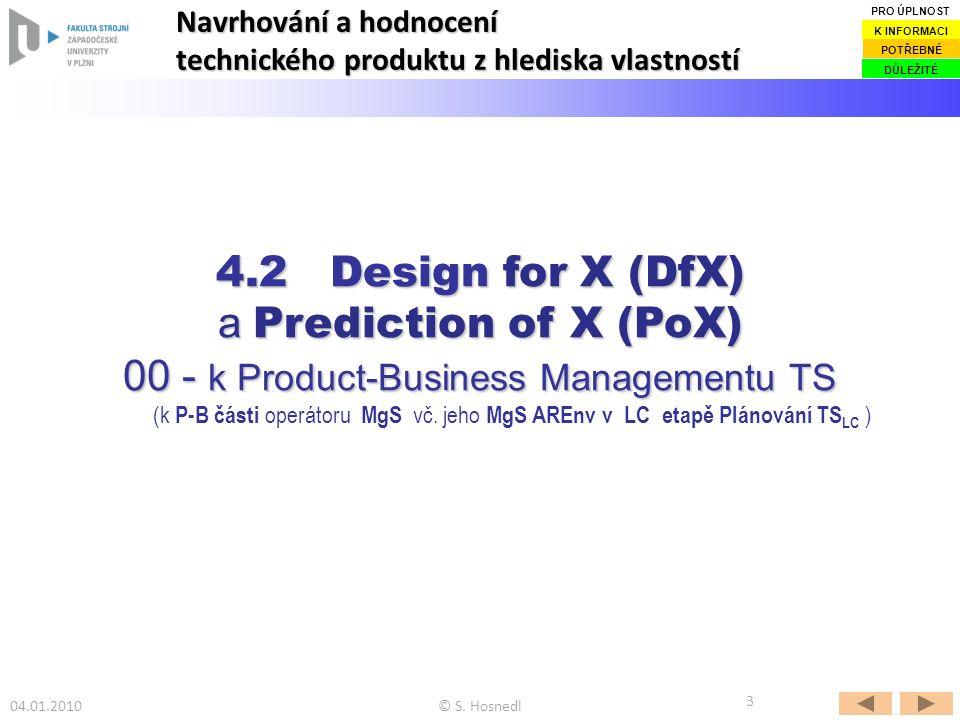 04.01.2010© S. Hosnedl 3 4.2 Design for X (DfX) a Prediction of X (PoX) 00 - k Product-Business Managementu TS (k P-B části operátoru MgS vč. jeho MgS