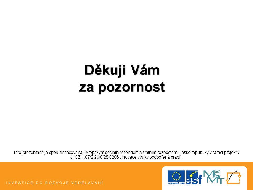 Děkuji Vám za pozornost Tato prezentace je spolufinancována Evropským sociálním fondem a státním rozpočtem České republiky v rámci projektu č. CZ.1.07