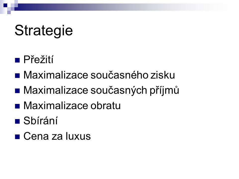 Strategie Přežití Maximalizace současného zisku Maximalizace současných příjmů Maximalizace obratu Sbírání Cena za luxus