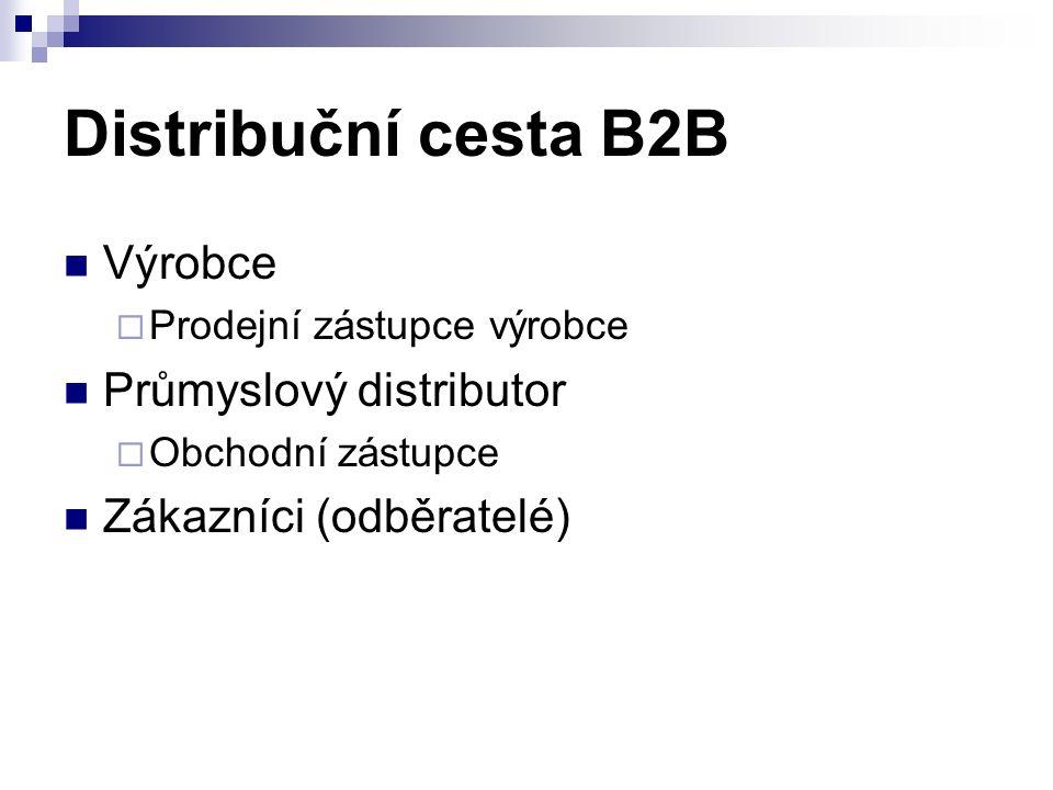 Distribuční cesta B2B Výrobce  Prodejní zástupce výrobce Průmyslový distributor  Obchodní zástupce Zákazníci (odběratelé)