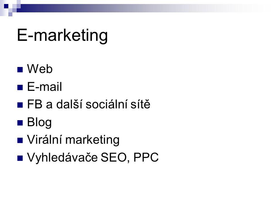 E-marketing Web E-mail FB a další sociální sítě Blog Virální marketing Vyhledávače SEO, PPC