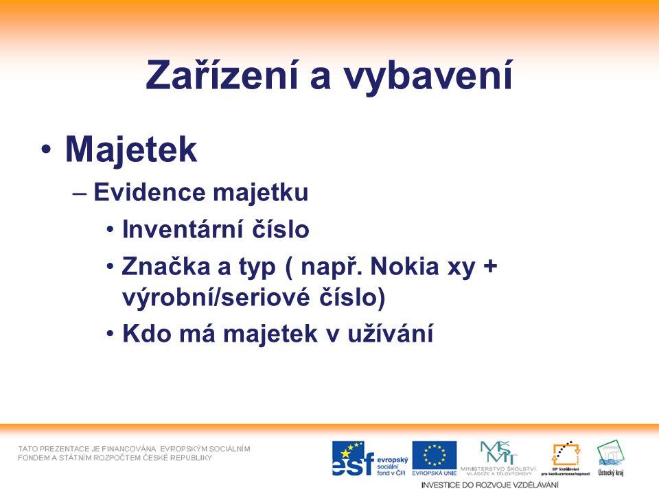 Zařízení a vybavení Majetek –Evidence majetku Inventární číslo Značka a typ ( např. Nokia xy + výrobní/seriové číslo) Kdo má majetek v užívání