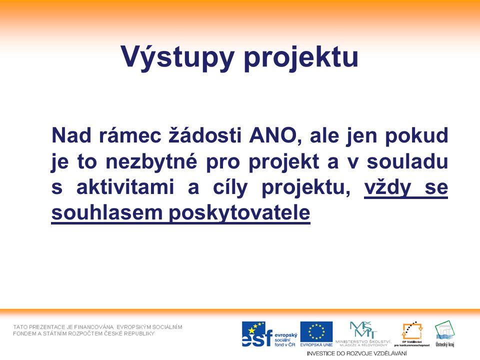 Výstupy projektu Nad rámec žádosti ANO, ale jen pokud je to nezbytné pro projekt a v souladu s aktivitami a cíly projektu, vždy se souhlasem poskytovatele